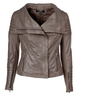 Muubaa Maple Quilted Leather Biker Jacket Taupe XS